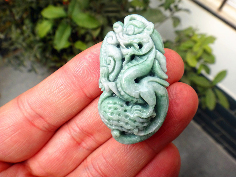 Primary image for Free Shipping - Green jade carved Chinese Dragon charm jade Pendant