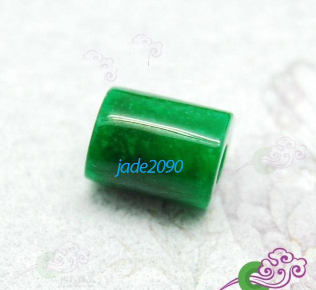 Primary image for Free Shipping - Hand carved Natural green jade carved Barrel bead pendant charm