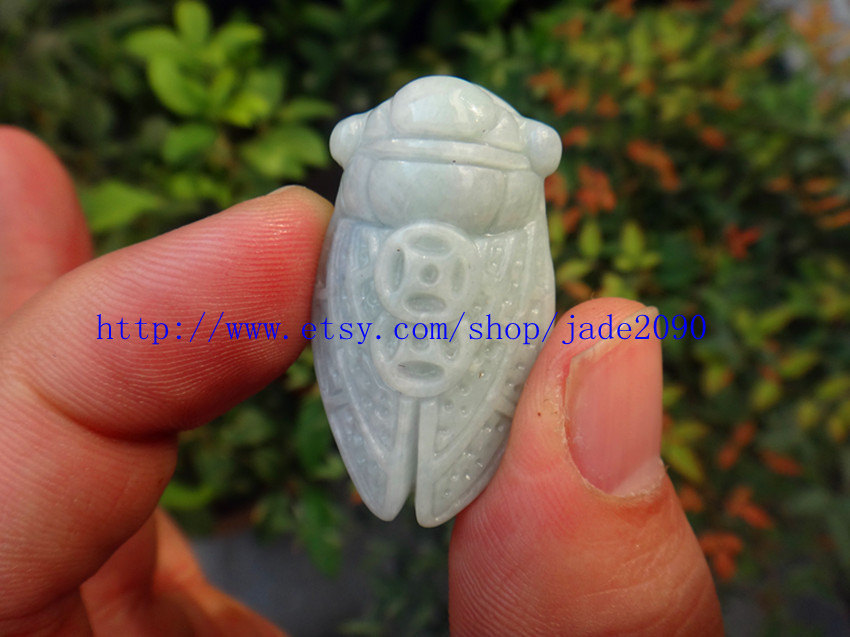 Primary image for Free shipping - good luck  Natural white jadeite jade carved Cicada charm jade p
