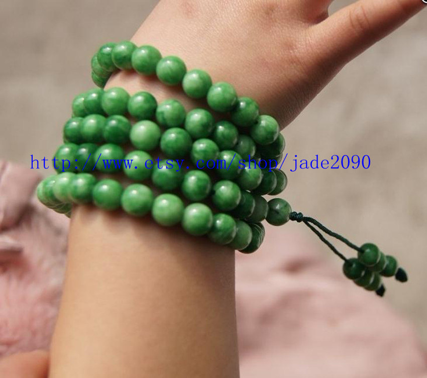 Primary image for Free Shipping - green Jadeite Jade Natural GREEN Jade / Jadeite 108 meditation P