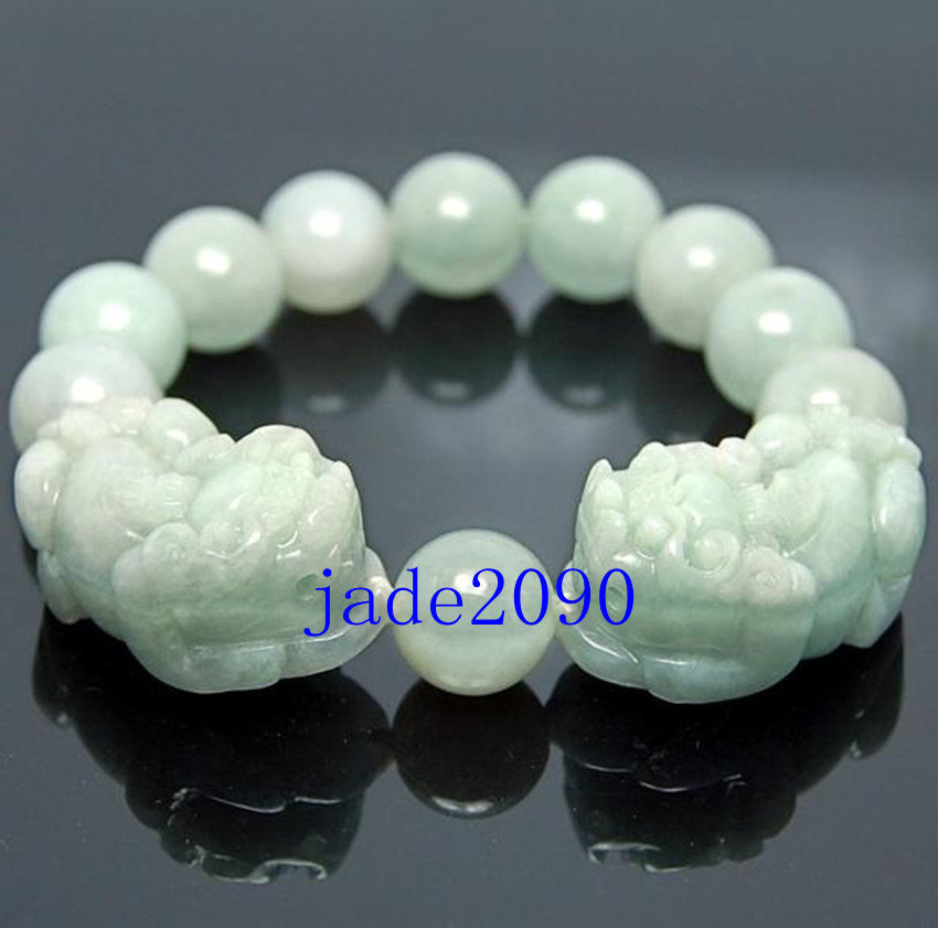 Primary image for Free Shipping -  Handcrafted Grade AAA Natural Green Jadeite Jade '' PI YAO '' c