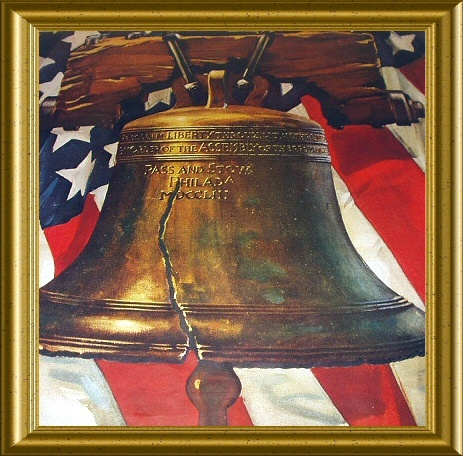 Patriotic LIBERTY BELL-PASS AND STOW-Vintage Illustration