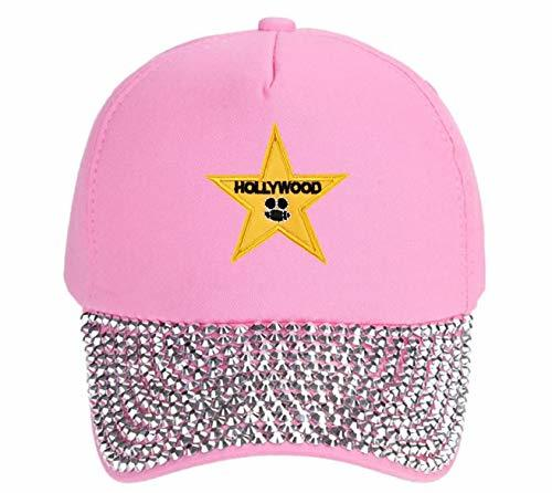 Hollywood Star Hat - Adjustable Womens Cap (Pink Studded)