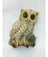 Vintage 1950-1960's Ceramic Wall Hanging Snow Owl White/Gray  - $6.76