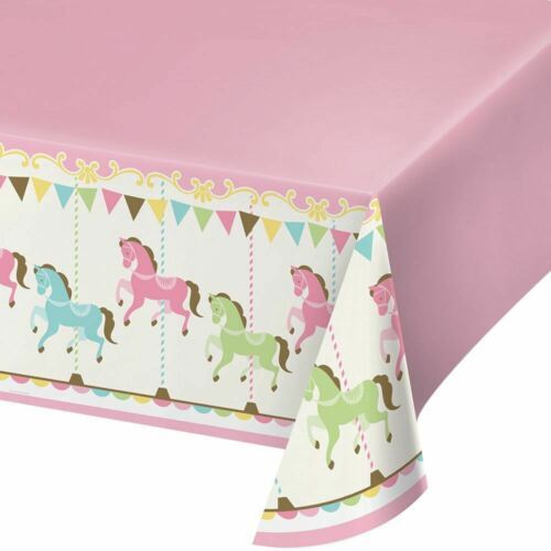 Carousel Baby Shower Plastic Tablecover 54 x 102 Boy or Girl
