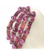 "HEET Luxury Designer Swarovski Crystal Pink Snake Print Leather Bracelet 7"" - $99.00"
