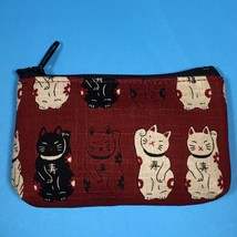 F/S Mini Rectangle Pouch Maneki Neko Money Fortune Cat Cute Kawaii Red K... - $6.20