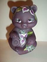 Fenton Glass Eggplant Purple Flora Bear Figurine Ltd Ed GSE M Kibbe #9/14 - $174.12