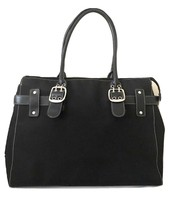 Nine West Purse Black Matte Zip Top Buckle Satchel Handbag - $24.84