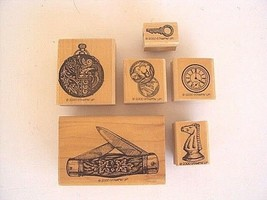 Stampin Up Papa's Pocket Stamp Set of 6 Vintage Pocket Watch Knife Chess... - $15.63