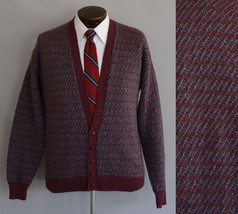 Vintage 80s Mens Striped Button Front Cardigan Sweater Size Medium to Large - $64.99