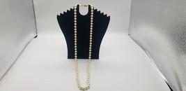 """Vintage Faux Pearl Necklace 18"""" Long Heavyweight Gold Tone Filgree Clasp... - $19.32"""