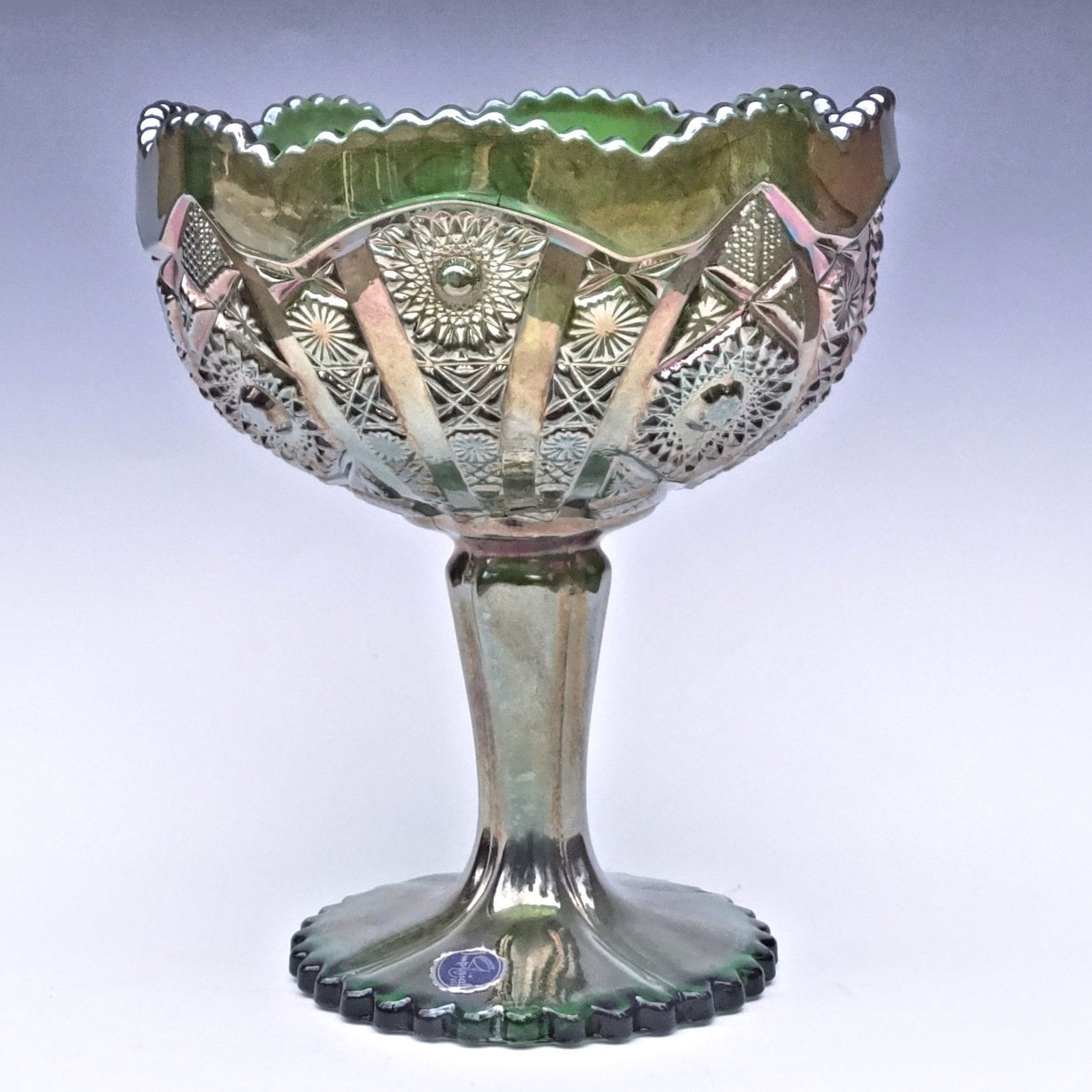 Imperial Carnival Glass Green Octagon Large Compote Comport Candy Chalice Label image 4