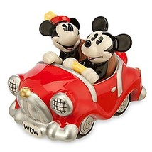 Disney Mickey Minnie Mouse Retro Driving Car Salt and Pepper Shaker 3 Pc... - $68.30
