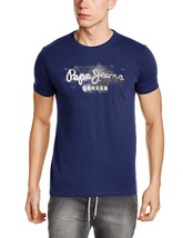 Nwt Jeans Men's Navy Pepe Printed Slim Fit Round Neck Cotton T-shirt Men... - $33.66