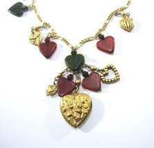 Charm Necklace, Hearts and Cupids, Boho Style, Long Figaro Chain, 1970's... - $28.00