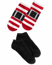 HUE 2-pack Footsie Socks Gift Box Santa Buckle Naughty Nice Stripe Black NEW image 2