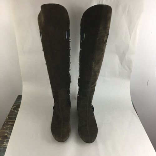 Vicini Tapeet Studded Knee Boots Brown Suede Italy 37 image 5