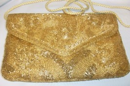 Stunning Vintage Gold Beaded Envelope Evening Bag - $27.72