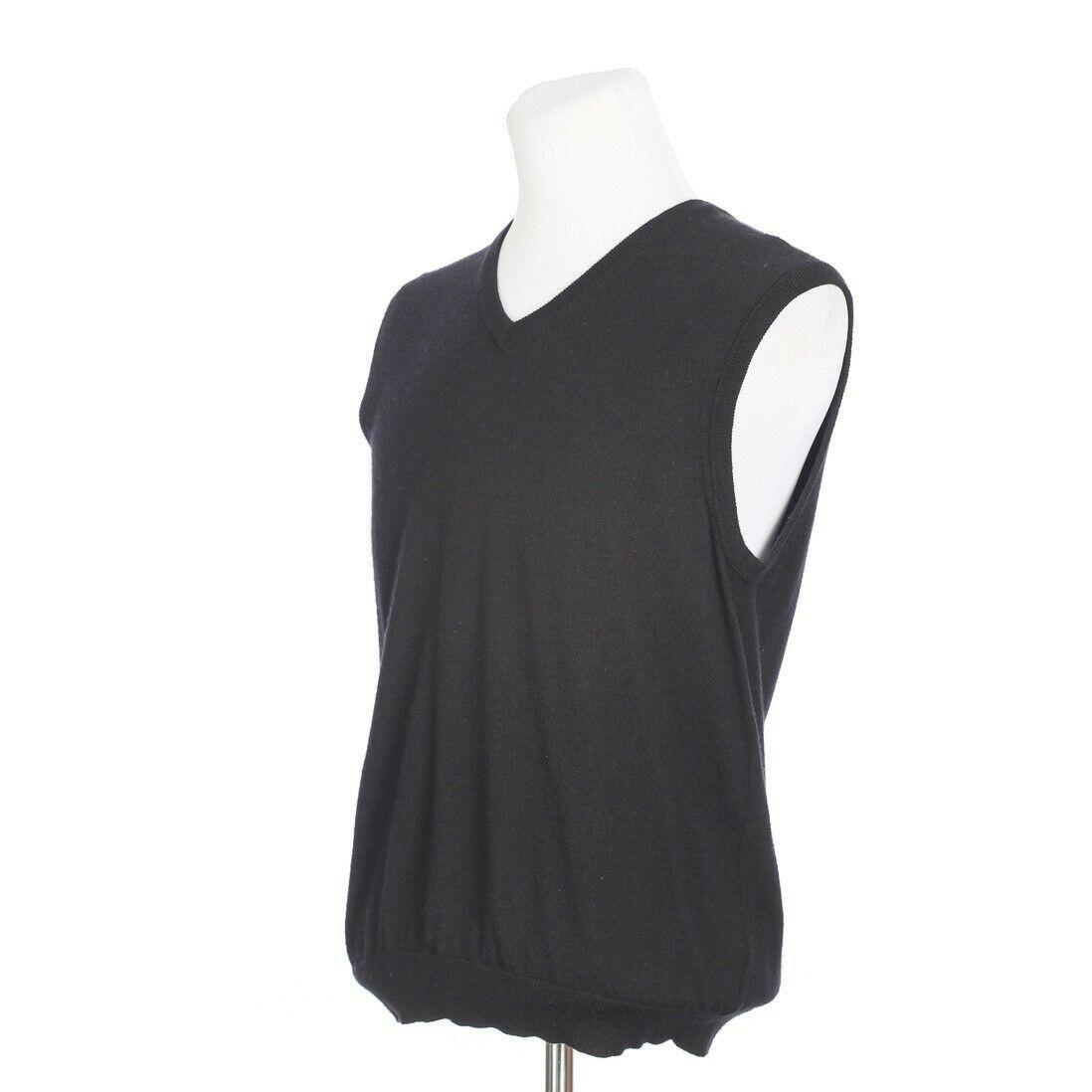 Brooks Brothers Extra Fine Merino Wool Solid Black Sweater Vest Mens Medium image 3