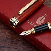 Handcrafted Refillable Rosewood Pen Set with Fine Medium Nib Ink Refill ... - $17.50