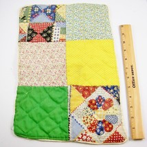 """Vtg Doll Patchwork Quilt Blanket 15x10"""" Home Made American 18"""" Baby Size... - $8.98"""