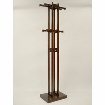 Modern Wood Coat Rack Tower Hall Tree Key Box 8 Adjustable Hooks Walnut ... - $139.90