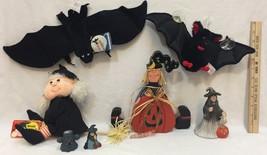 Halloween Witch & Bat Lot 7 Plush Window Cling Wood Shelf Sitter Figurines - $29.65