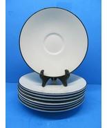 """Crate And Barrel Classique Black Line 7 1/8"""" Saucers/ Plates Set Of 8 Sa... - $19.59"""