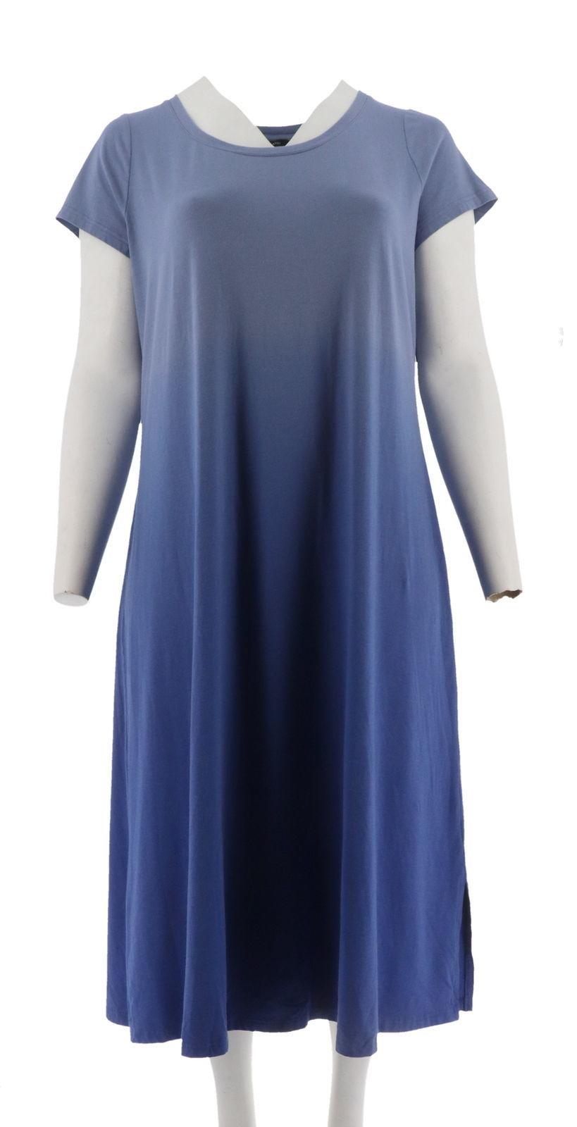 H Halston Short Slv Dip Dye Knit Midi Dress Purple Iris S NEW A289380