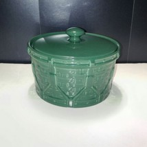 2003 Longaberger Woven Drum Storage Crock with Lid Ivy Green USA  - $23.36