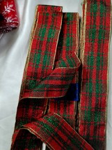 "(3) 1.5"" Christmas Holiday Plaid Wired Ribbon, Red, Green,Gold Metallic ... - $5.00"