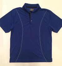 Men's Size Medium Golf Polo Sport Shirt Blue with Black and Silver Striping - $23.38