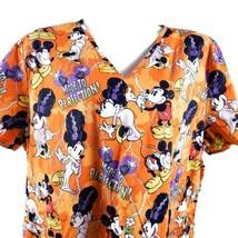 Disney Mickey Minnie Mouse Made To Perfection! Orange 2XL Scrub Top - $17.81