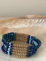 Estate Shades of Blue & Gilt Bead Wide Stretch Bracelet  - will fit small to med image 4