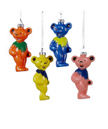 KURT ADLER SET OF 4 GRATEFUL DEAD DANCING BEAR CHRISTMAS ORNAMENTS GD1141 - $16.88