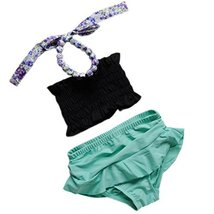 Cute Baby Girls Beach Suit Lovely Black Bikini Swimsuit 2-3 Years Old(90-100cm) image 2