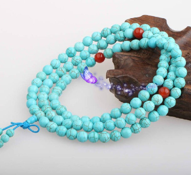 Primary image for FREE SHIPPING - Natural Turquoise Meditation yoga 108 prayer beads mala necklace