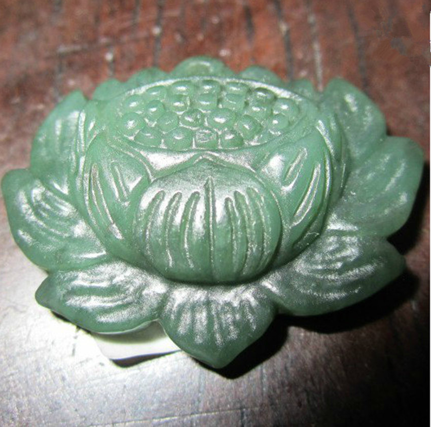 Primary image for Free shipping - Hand carved  Natural dark green  jade jadeite buddha Lotus / bud
