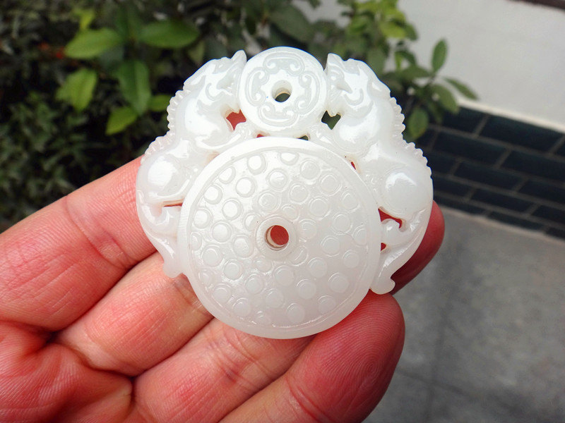 Primary image for Free Shipping -  Good luck Hand- carved  Natural Real white jade Two dragon Real