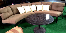 Half moon sofa deep seating outdoor furniture 3pc with table curved bench Bronze image 1