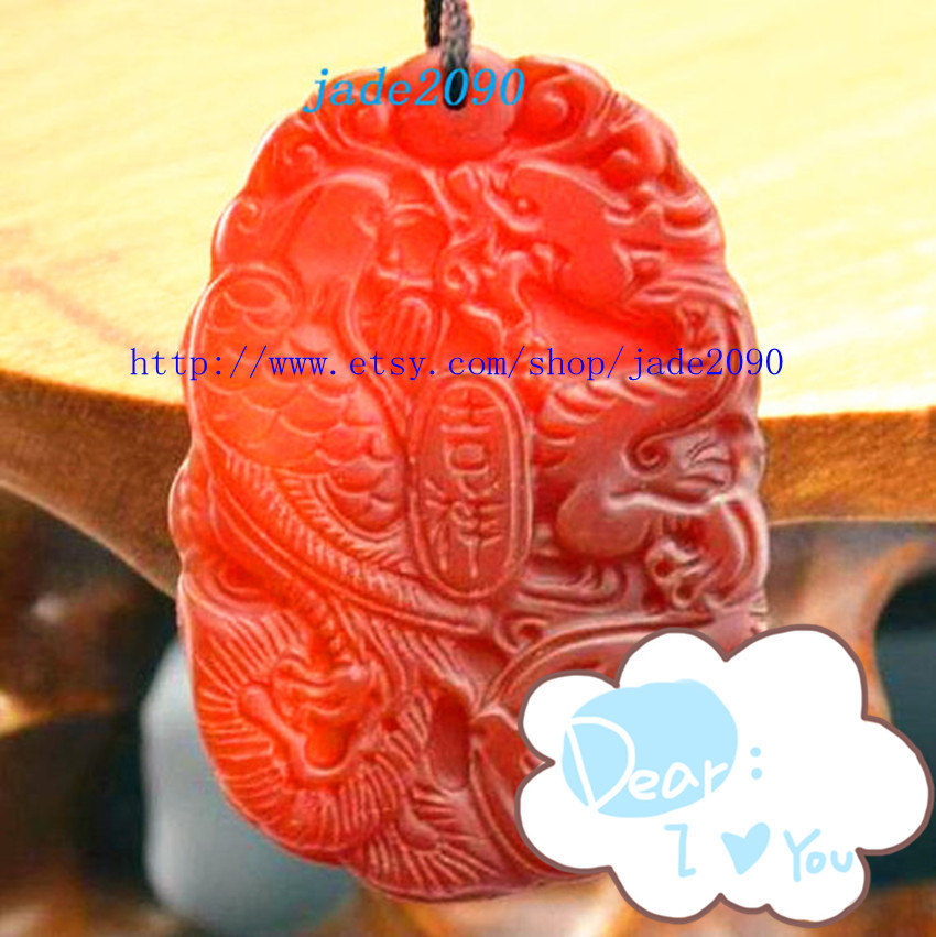 Primary image for Free Shipping - good luck Natural Red jade Carved Dragon Phoenix Pendant charm /