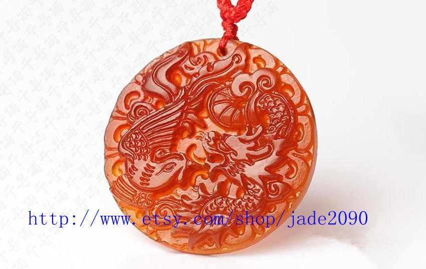 Primary image for Free Shipping - good luck Natural Red jadeite jade Carved Dragon Phoenix charm s