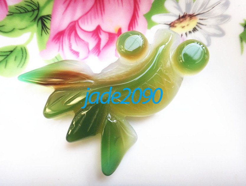 Primary image for Free Shipping - Hand carved Natural green agate fish / Goldfish charm Pendant -
