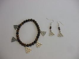 Trinity Knot Charms Tiger's Eye 4mm Gemstone Beads Stretch Bracelet & Ea... - $24.74