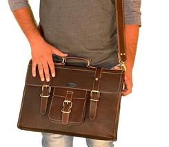 **USA** Pure Leather Handmade Laptop Vertical Briefcase Shoulder Messeng... - $75.21 CAD+