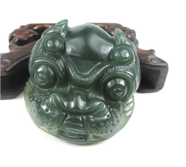 Primary image for Free Shipping -good luck Amulet Natural dark green jade carved Dog Head charm Pe