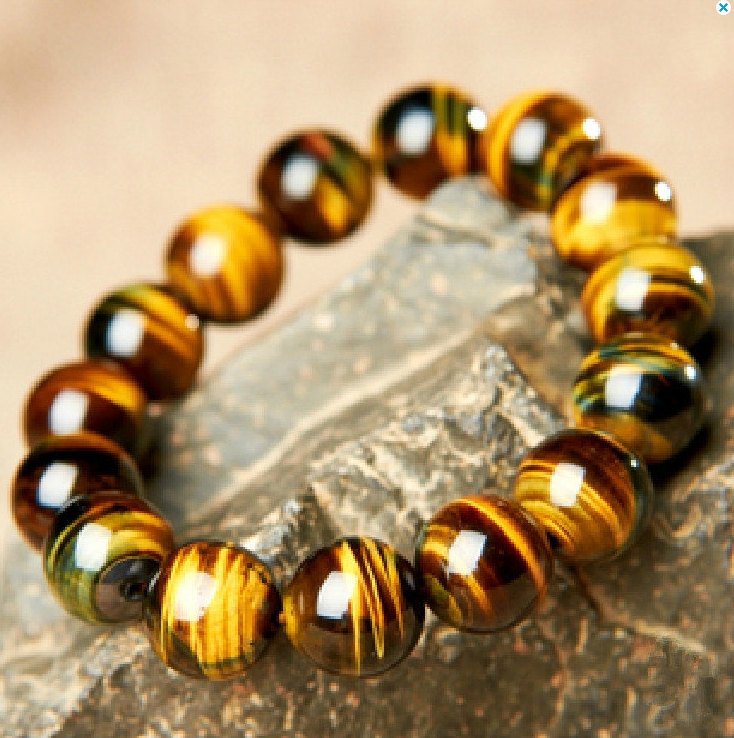 Primary image for Free Shipping - Natural yellow tiger eyes gemstone beaded , Prayer Beads charm b