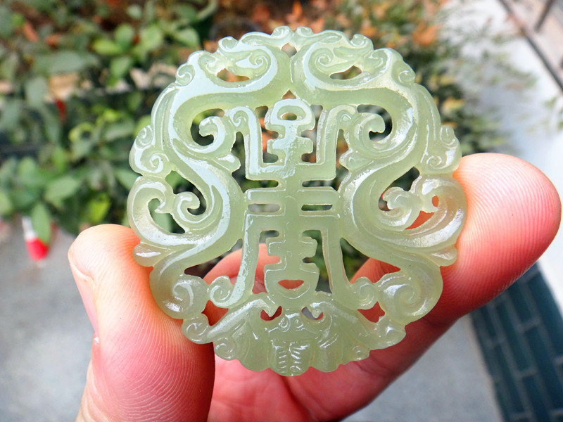 Primary image for Free Shipping - chinese Amulet pendant ,  good luck Natural green jade carved pr