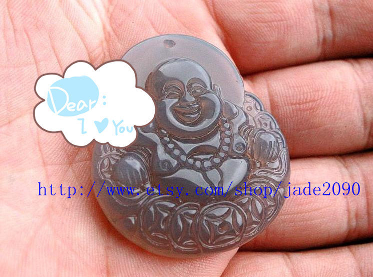 Primary image for Free shipping - Hand carved  Natural  jade jadeite Laughing Buddha buddha charm